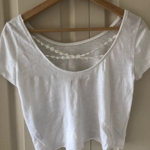 Hollister White Crop Top with Floral Back